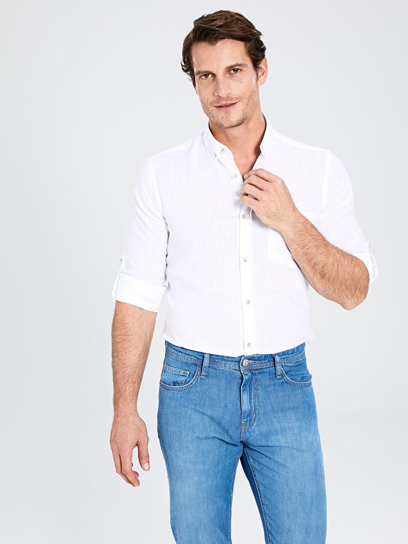%70 Pamuk %30 Keten Normal Düz Uzun Kol Gömlek Düğmeli Regular Fit Basic Keten Gömlek