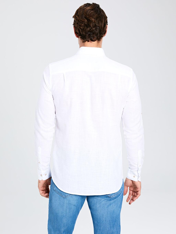 Erkek Regular Fit Basic Keten Gömlek