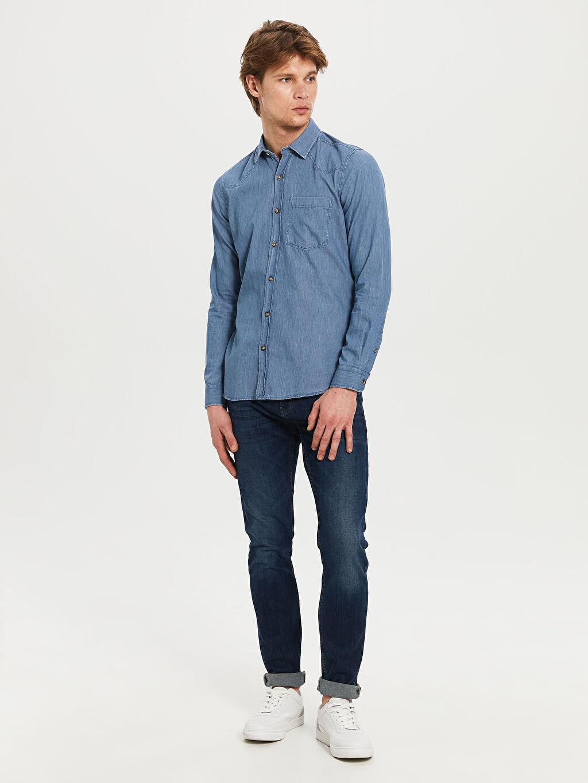 LC Waikiki Mavi Düz Uzun Kollu Gömlek