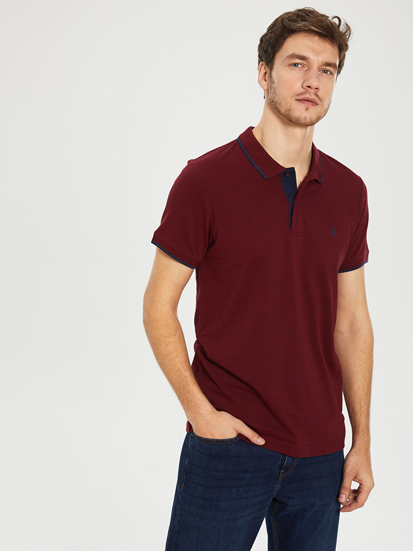 %60 Pamuk %40 Polyester Standart Düz Kısa Kol Tişört Polo Polo Yaka Basic Tişört