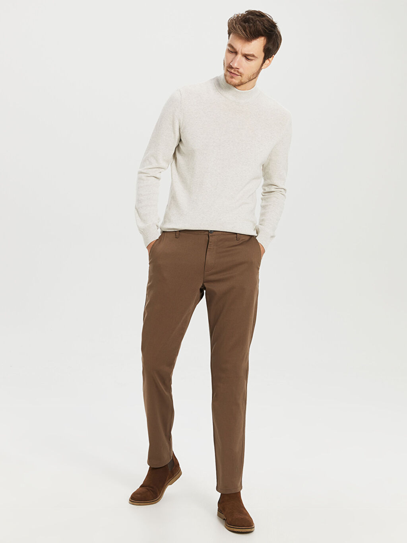 %98 Pamuk %2 Elastan Normal Bel Normal Pilesiz Pantolon Normal Kalıp Chino Pantolon