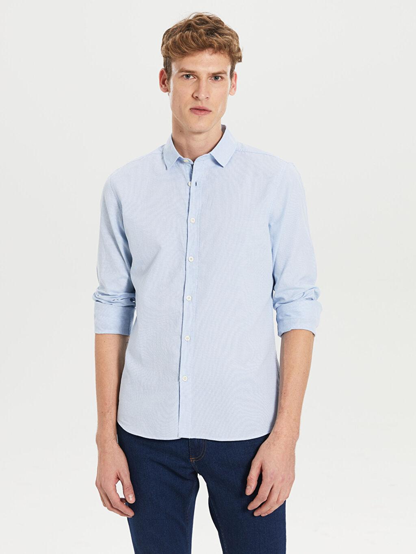 Mavi Ekstra Slim Fit Uzun Kollu Pamuklu Gömlek 0S2479Z8 LC Waikiki