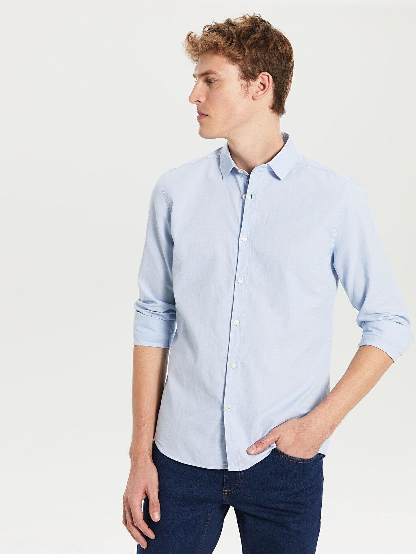 %100 Pamuk Uzun Kol Düz En Dar Gömlek Düğmesiz Ekstra Slim Fit Uzun Kollu Pamuklu Gömlek