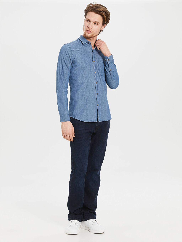 Düz En Dar Uzun Kol Gömlek Düğmesiz Ekstra Slim Fit Gabardin Gömlek