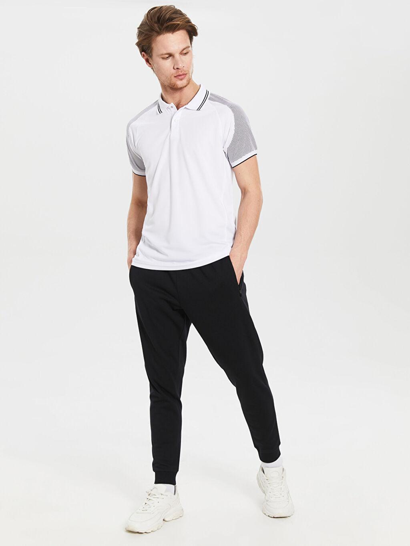 %100 Polyester Düz Standart Kısa Kol Tişört Polo Polo Yaka Aktif Spor Tişört