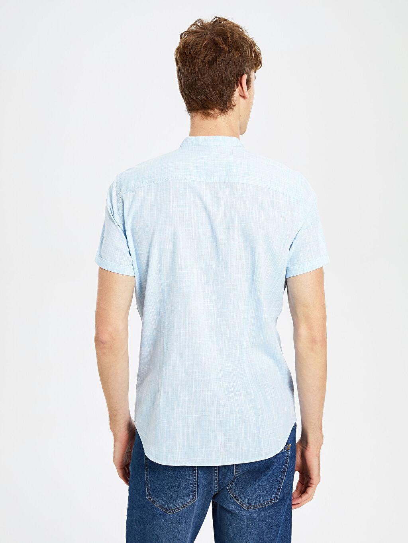 Erkek Mavi Kısa Kollu Gömlek