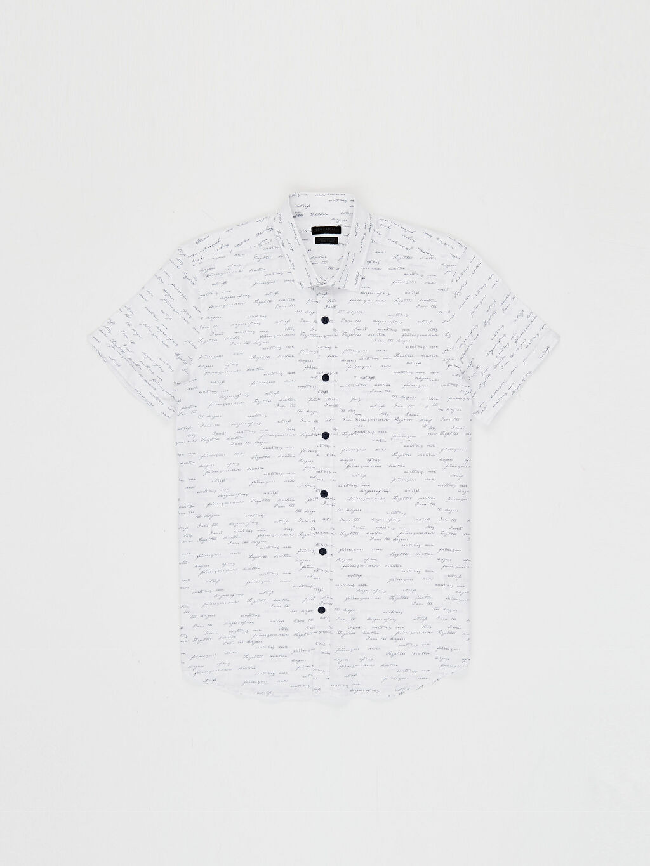 Lacivert Desenli Kısa Kollu Gömlek