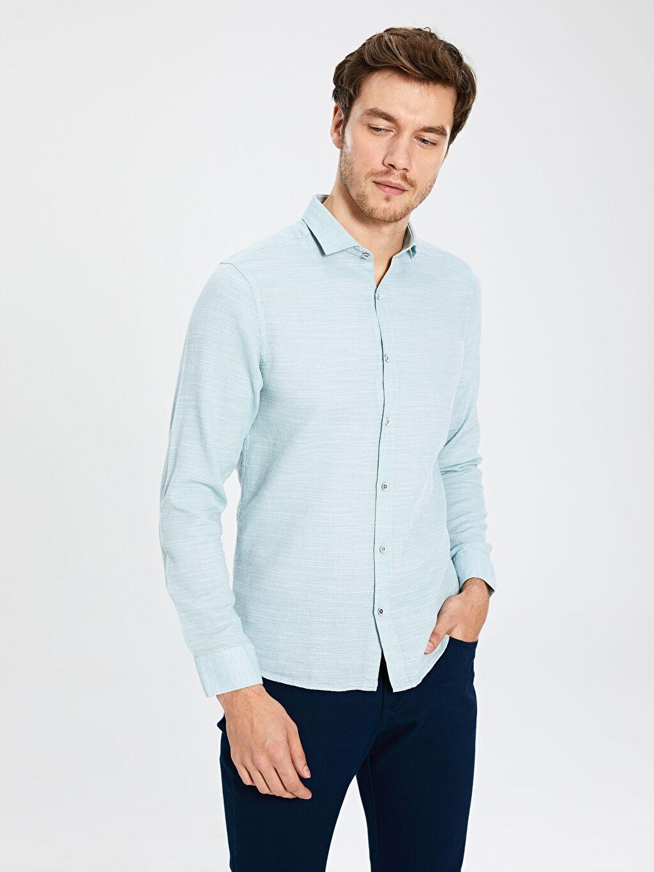%100 Pamuk Desenli Uzun Kol Gömlek Düğmesiz Dar Slim Fit Armürlü Uzun Kollu Poplin Gömlek