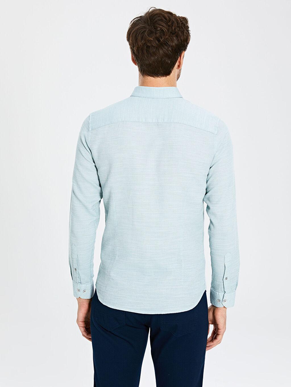 %100 Pamuk Slim Fit Armürlü Uzun Kollu Poplin Gömlek