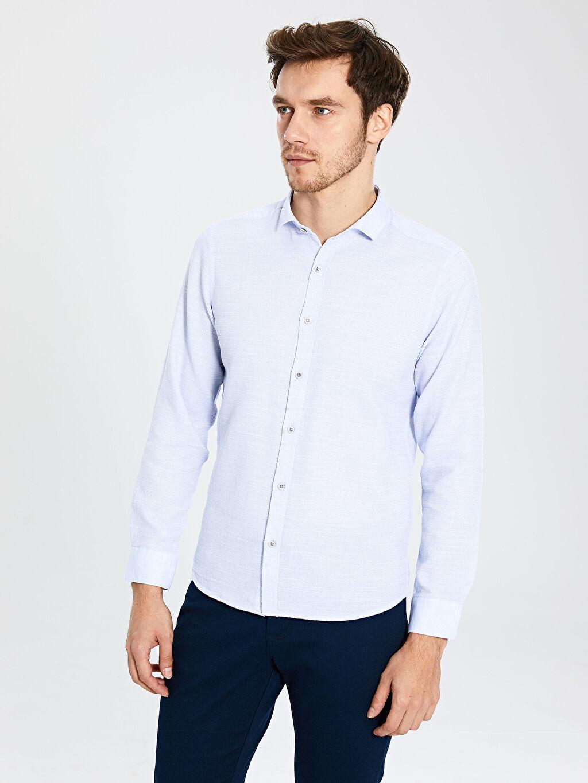 Mavi Slim Fit Armürlü Uzun Kollu Poplin Gömlek 0S2746Z8 LC Waikiki