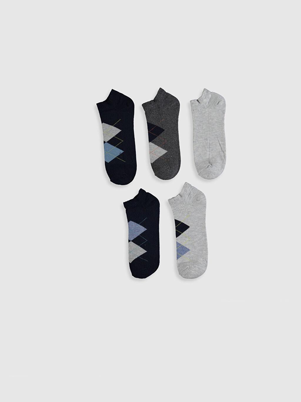 %79 Pamuk %2 Polyester %17 Poliamid %2 Elastan  Desenli Patik Çorap 5'li
