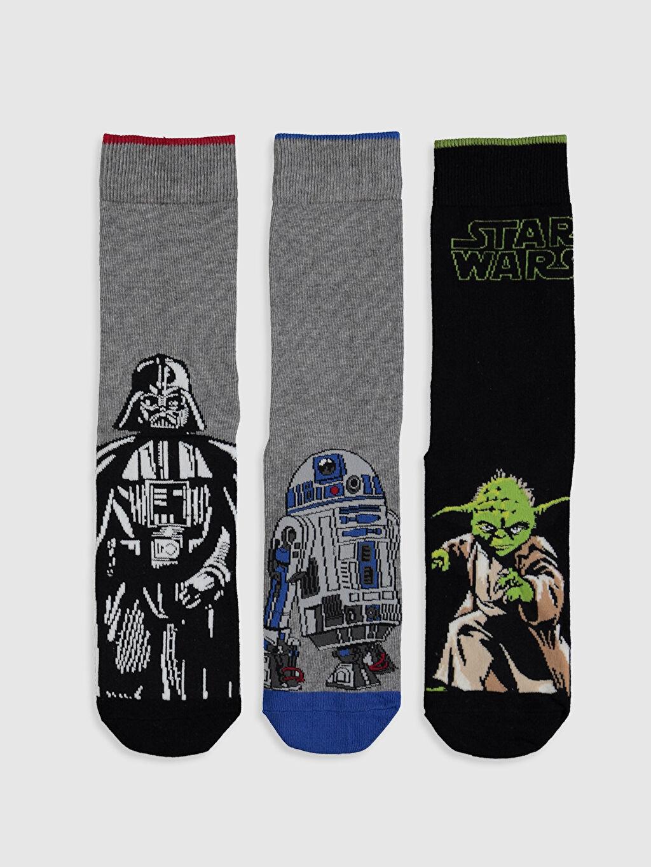 %67 Pamuk %31 Poliamid %2 Elastan  Star Wars Baskılı Soket Çorap 3'lü