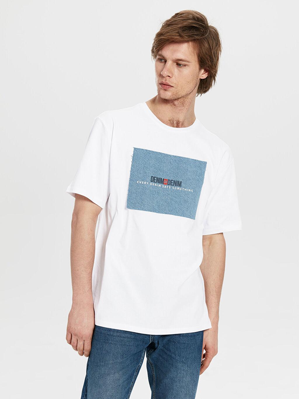 Beyaz Oversize Baskılı Penye Tişört 0S2843Z8 LC Waikiki