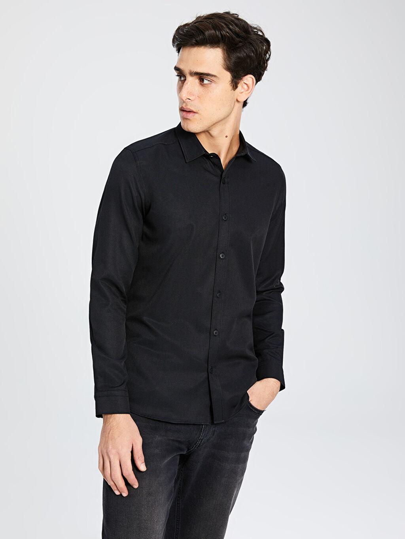 Siyah Ekstra Slim Fit Uzun Kollu Gömlek 9WP135Z8 LC Waikiki