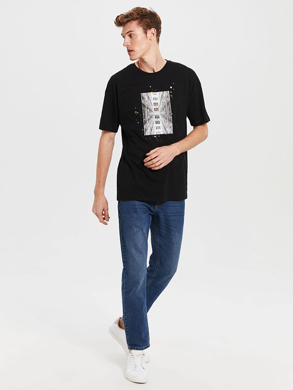 %100 Pamuk Oversize Baskılı Penye Tişört