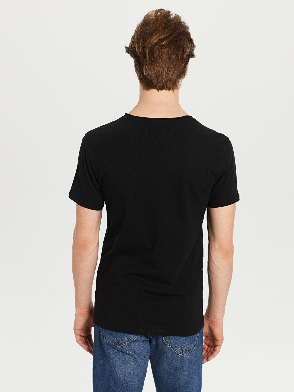 %100 Pamuk Düz Standart Kısa Kol Tişört V yaka V Yaka Basic Tişört