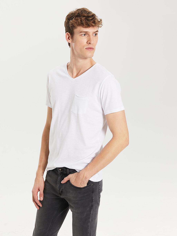 Beyaz V Yaka Basic Tişört 0S2879Z8 LC Waikiki
