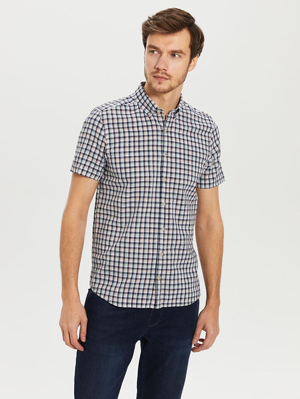 %100 Pamuk Dar Kısa Kol Ekoseli Gömlek Düğmeli Slim Fit Ekoseli Kısa Kollu Gömlek