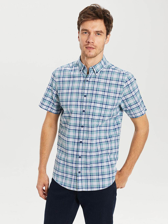 Erkek Regular Fit Ekose Kısa Kollu Poplin Gömlek