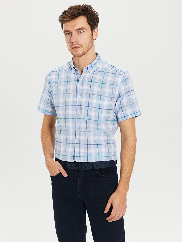 Mavi Kareli Normal Kısa Kollu Gömlek 0S2898Z8 LC Waikiki