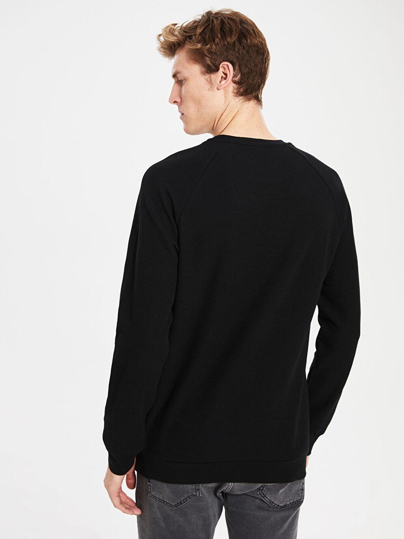 %100 Pamuk Bisiklet Yaka Basic Sweatshirt