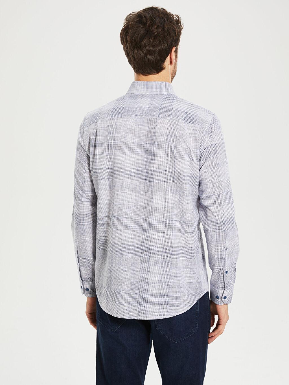 %100 Pamuk Regular Fit Ekose Uzun Kollu Gömlek