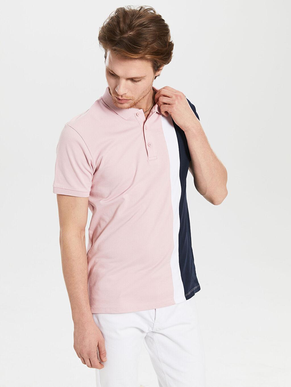 %96 Pamuk %4 Elastan Standart Çizgili Kısa Kol Tişört Polo Polo Yaka Çizgili Tişört