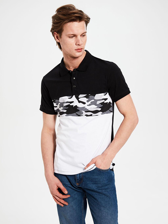 %100 Pamuk Standart Baskılı Kısa Kol Tişört Polo Polo Yaka Baskılı Penye Tişört