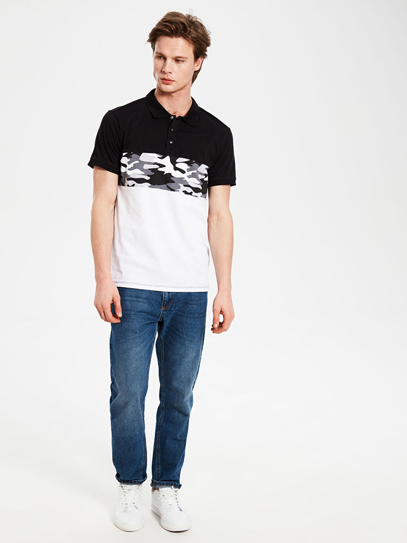 %100 Pamuk Polo Yaka Baskılı Penye Tişört