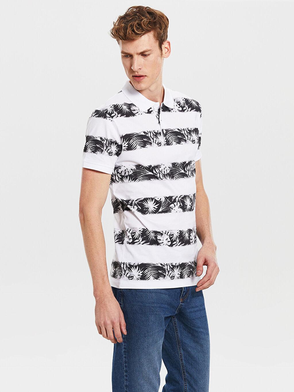 %100 Pamuk Standart Baskılı Kısa Kol Tişört Polo Polo Yaka Desenli Penye Tişört