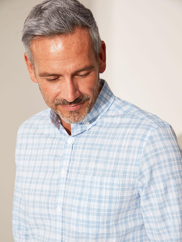 %100 Pamuk Ekoseli Gömlek Düğmeli Normal Uzun Kol Regular Fit Ekose Poplin Gömlek
