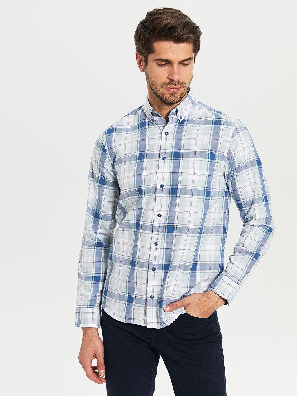 %100 Pamuk Normal Uzun Kol Ekoseli Gömlek Düğmeli Regular Fit Ekose Oxford Gömlek