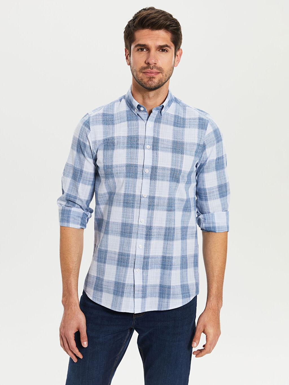 Mavi Slim Fit Ekoseli Poplin Gömlek 0S2927Z8 LC Waikiki