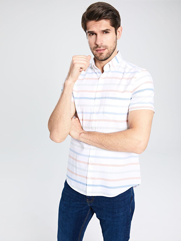 %100 Pamuk Dar Kısa Kol Çizgili Gömlek Düğmeli Slim Fit Çizgili Kısa Kollu Poplin Gömlek