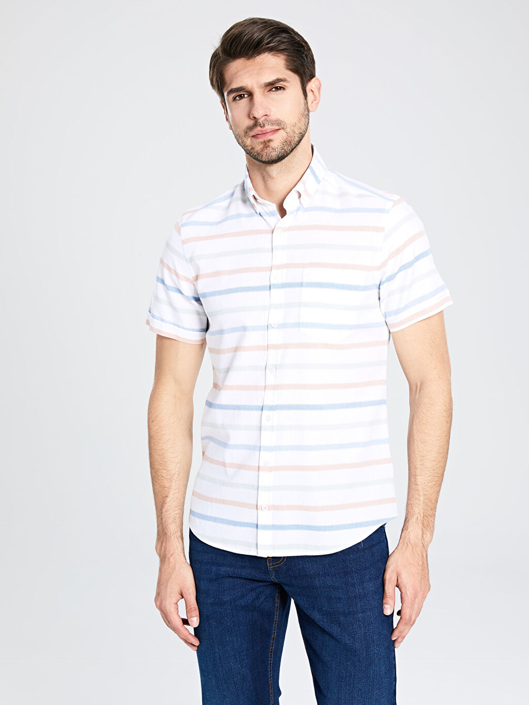 Erkek Slim Fit Çizgili Kısa Kollu Poplin Gömlek