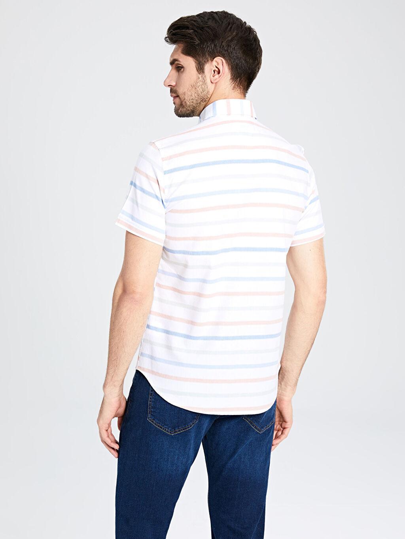 %100 Pamuk Slim Fit Çizgili Kısa Kollu Poplin Gömlek