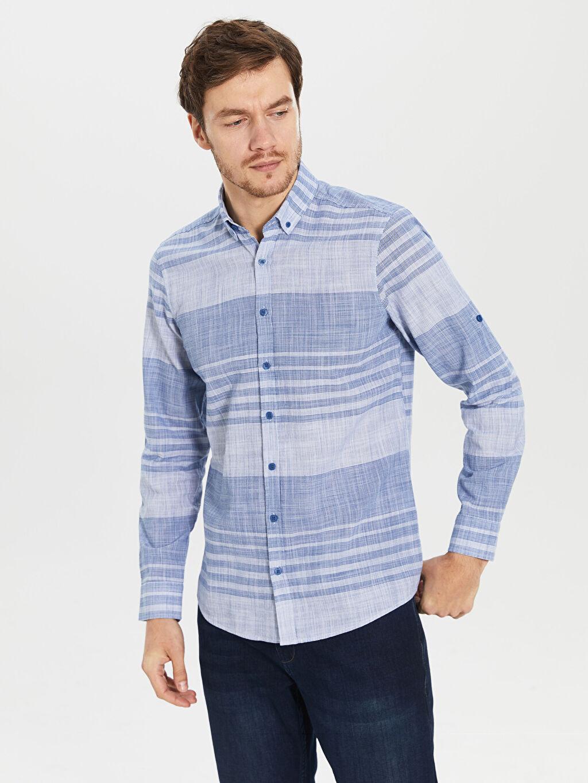 %100 Pamuk Dar Uzun Kol Çizgili Gömlek Düğmeli Slim Fit Çizgili Poplin Gömlek