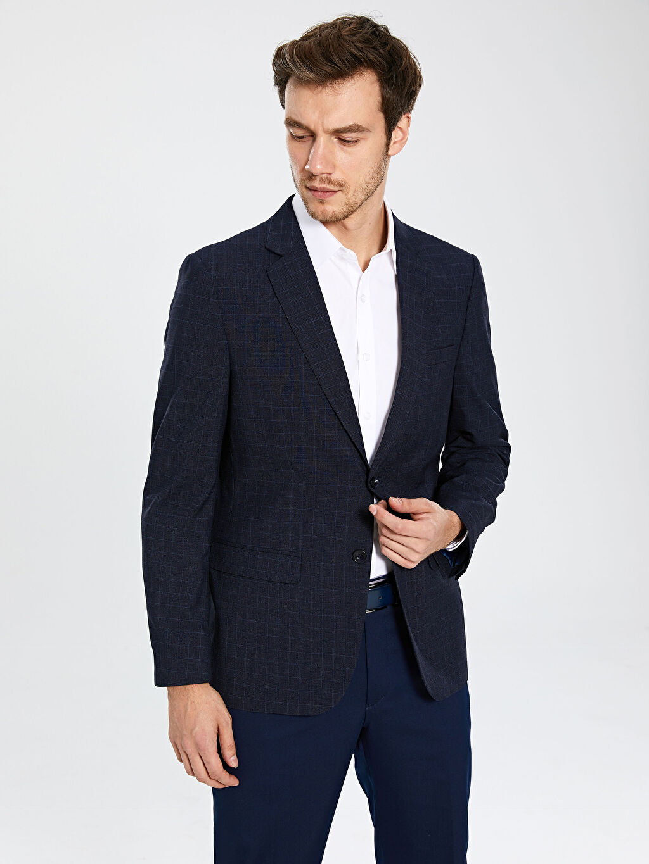 Erkek Standart Kalıp Blazer Ceket