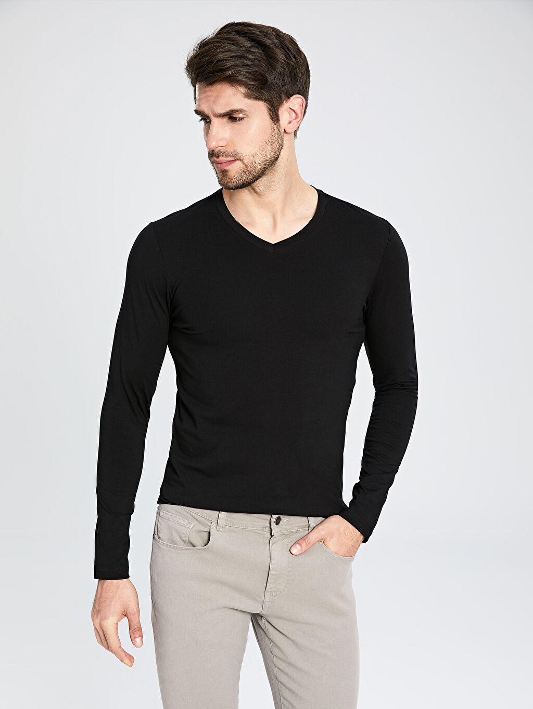 Erkek Düz Dar Uzun Kollu V yaka Tişört