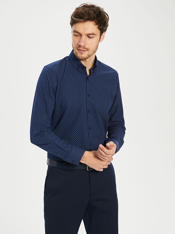 %53 Pamuk %47 Polyester Dar Desenli Uzun Kol Gömlek Düğmeli Slim Fit Poplin Gömlek