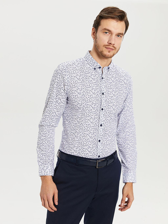 %70 Pamuk %30 Polyester Desenli En Dar Uzun Kol Gömlek Düğmeli Desenli Uzun Kollu Gömlek