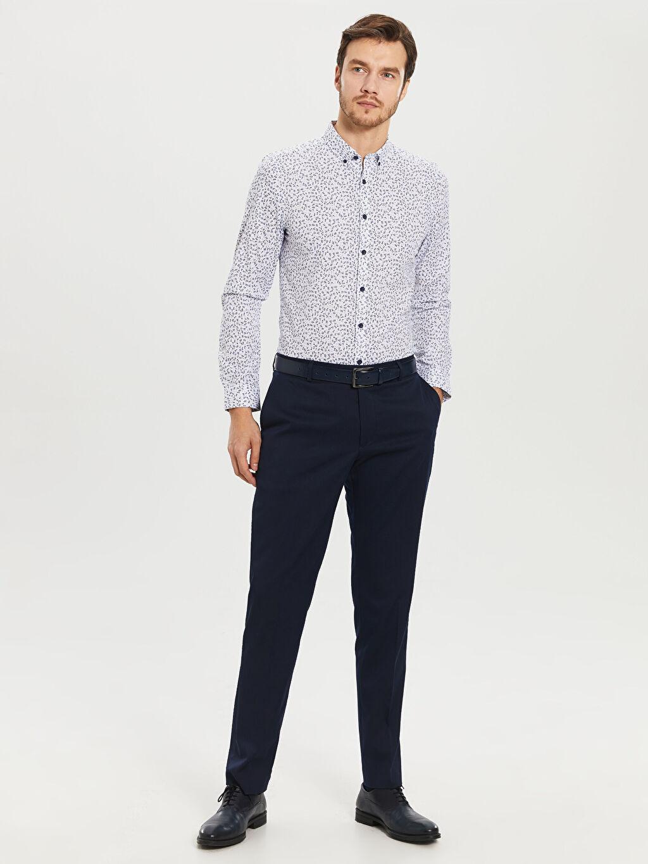 %70 Pamuk %30 Polyester Desenli Uzun Kollu Gömlek