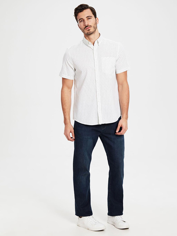 %100 Pamuk Regular Fit Desenli Kısa Kollu Gömlek
