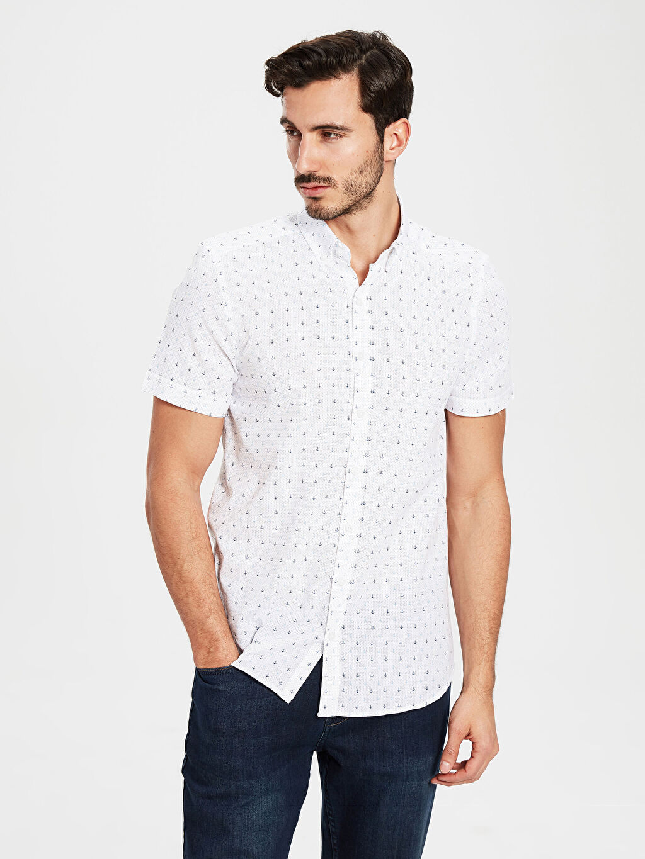 Beyaz Slim Fit Desenli Kısa Kollu Gömlek 0S3064Z8 LC Waikiki