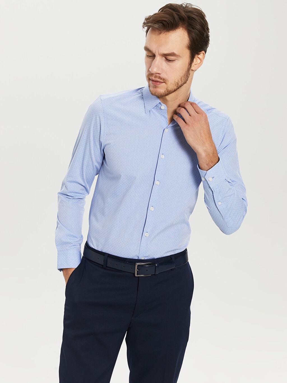%60 Pamuk %40 Polyester Dar Desenli Uzun Kol Gömlek Düğmesiz Desenli Dar Uzun Kollu Gömlek