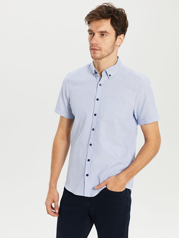 %100 Pamuk Dar Kısa Kol Desenli Gömlek Düğmeli Slim Fit Armürlü Kısa Kollu Gömlek