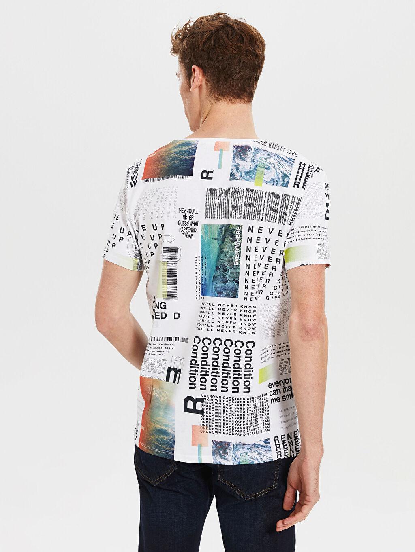 Erkek Bisiklet Yaka Desenli Penye Tişört