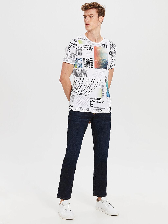 %100 Pamuk Bisiklet Yaka Desenli Penye Tişört