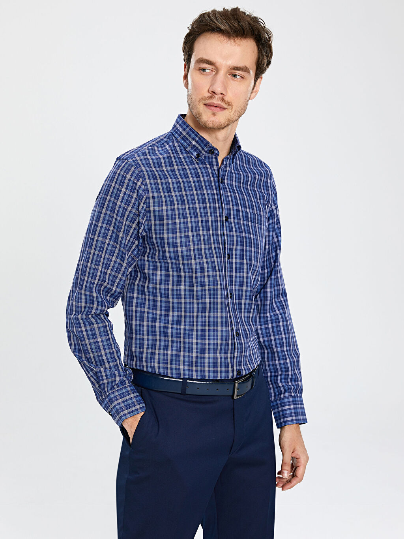 %59 Pamuk %41 Polyester Normal Ekoseli Uzun Kol Gömlek Düğmeli Regular Fit Gabardin Gömlek