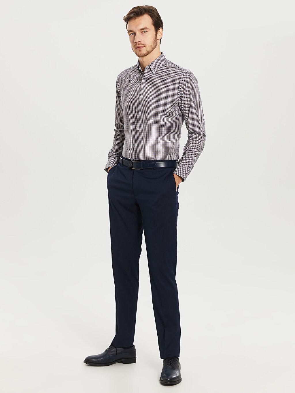 %60 Pamuk %40 Polyester Kareli Normal Uzun Kollu Gömlek